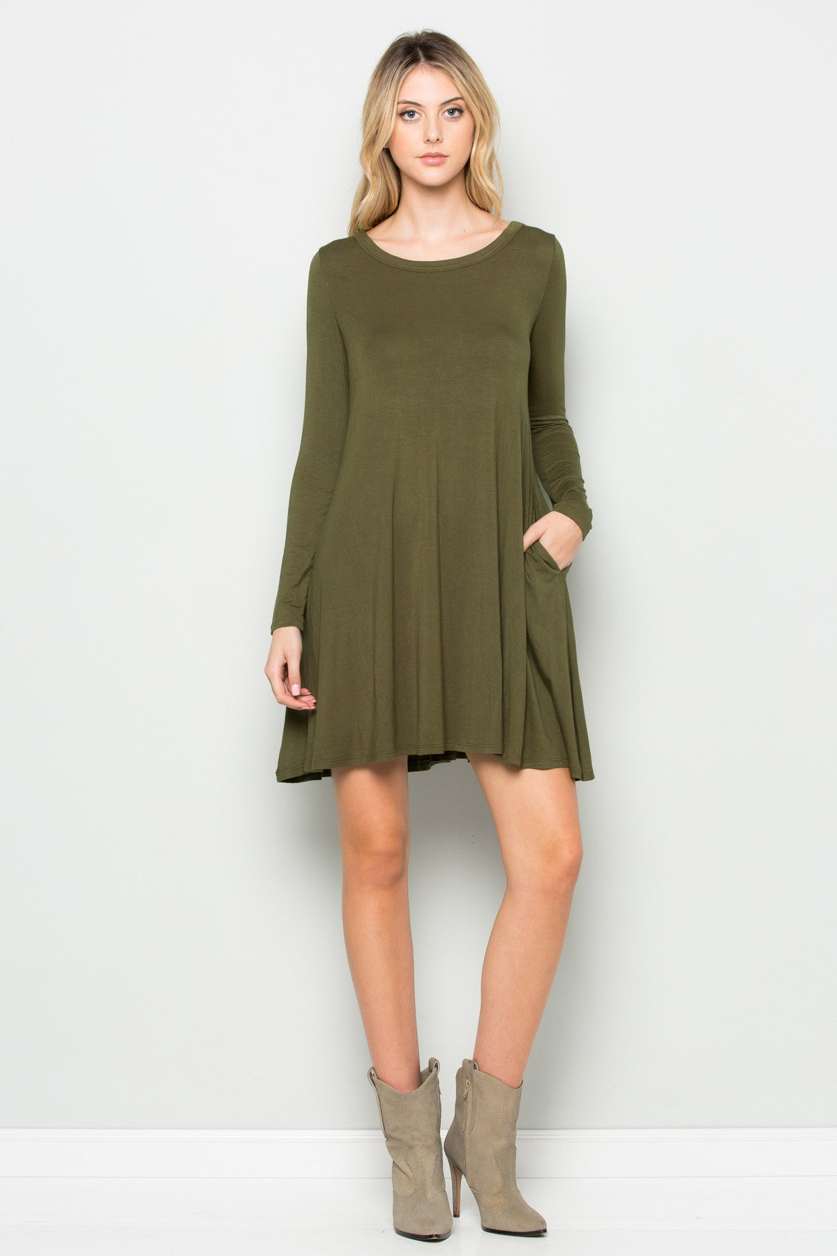 Military Green Long Sleeve Open Back Swing Dress - Dresses - My Yuccie - 10