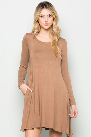Mocha Long Sleeve Open Back Swing Dress - Dresses - My Yuccie - 1