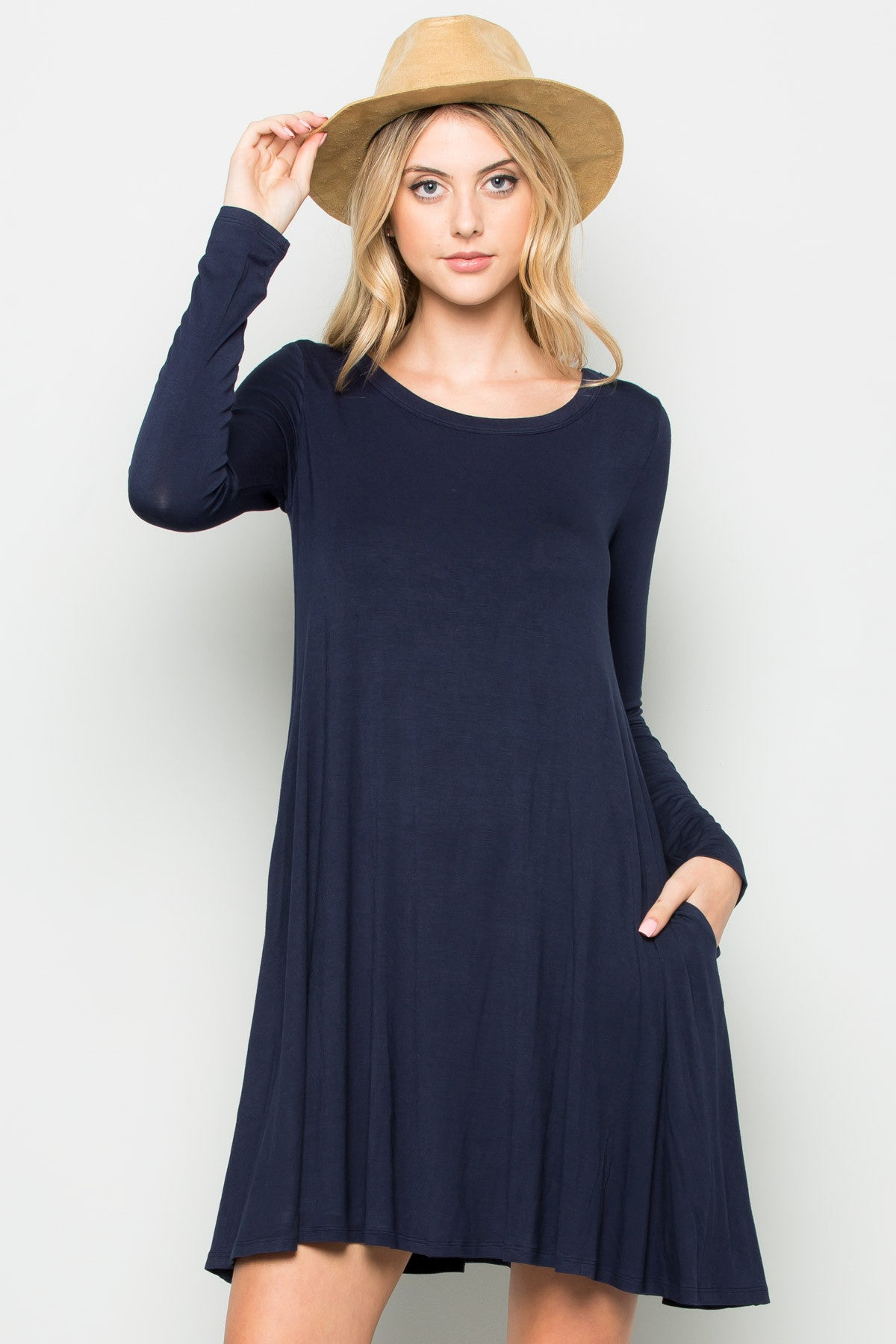 Navy Long Sleeve Open Back Swing Dress - Dresses - My Yuccie - 2