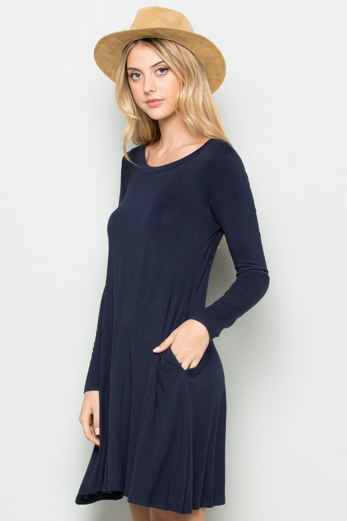 Navy Long Sleeve Open Back Swing Dress - Dresses - My Yuccie - 3