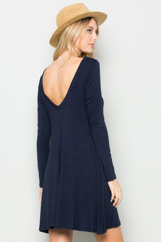 Navy Long Sleeve Open Back Swing Dress - Dresses - My Yuccie - 1