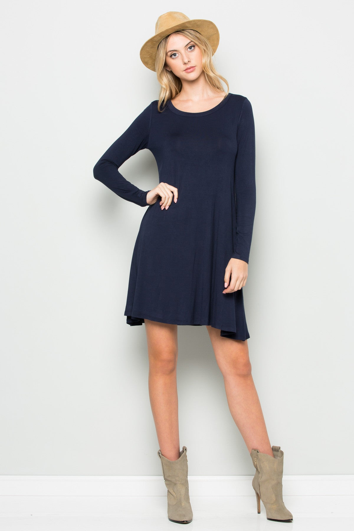 Navy Long Sleeve Open Back Swing Dress - Dresses - My Yuccie - 5