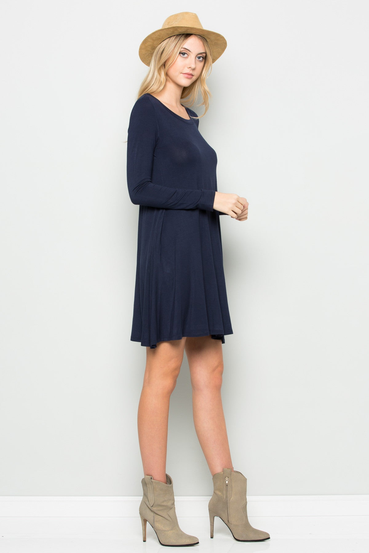 Navy Long Sleeve Open Back Swing Dress - Dresses - My Yuccie - 4