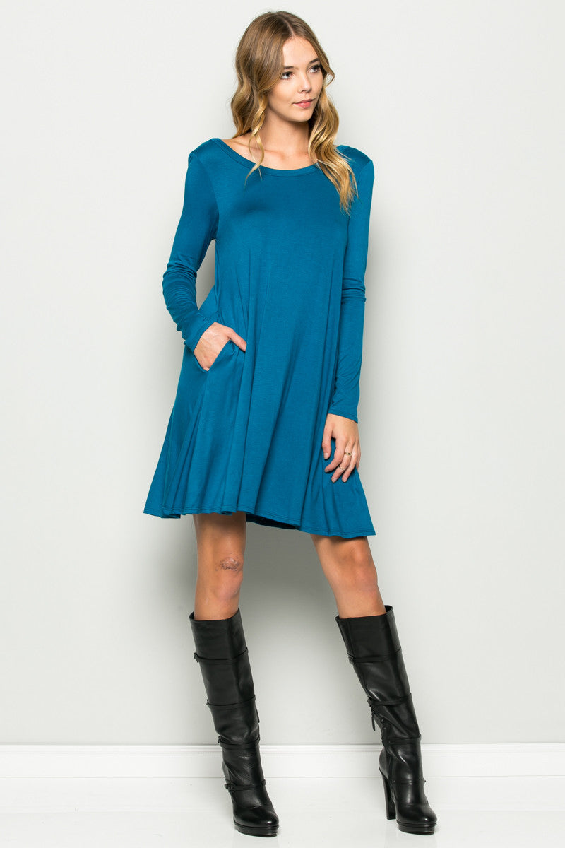 Teal Long Sleeve Open Back Swing Dress - Dresses - My Yuccie - 10