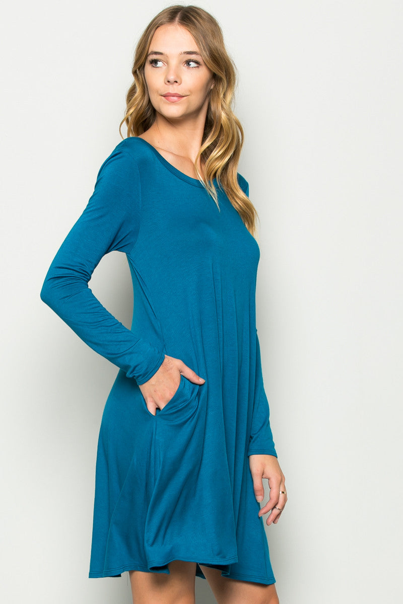 Teal Long Sleeve Open Back Swing Dress - Dresses - My Yuccie - 2