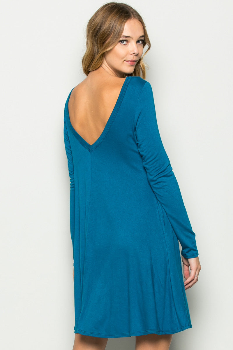Teal Long Sleeve Open Back Swing Dress - Dresses - My Yuccie - 9