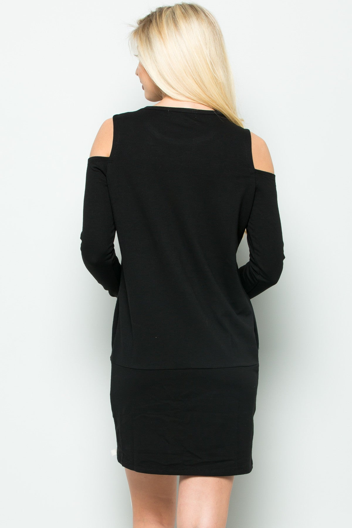 Cold Shoulder Lace Up Sweater Dress in Black - Dresses - My Yuccie - 3