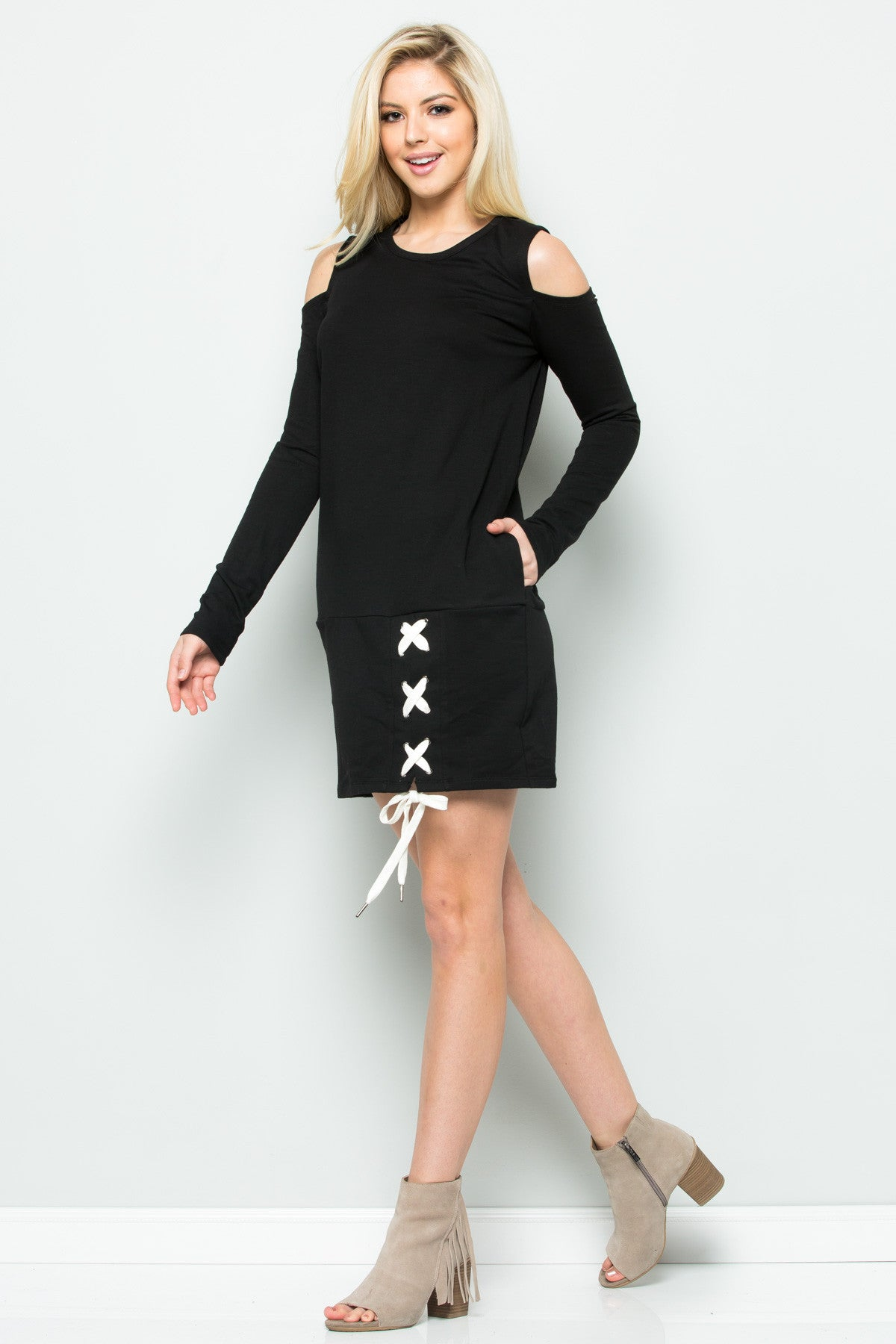 Cold Shoulder Lace Up Sweater Dress in Black - Dresses - My Yuccie - 5