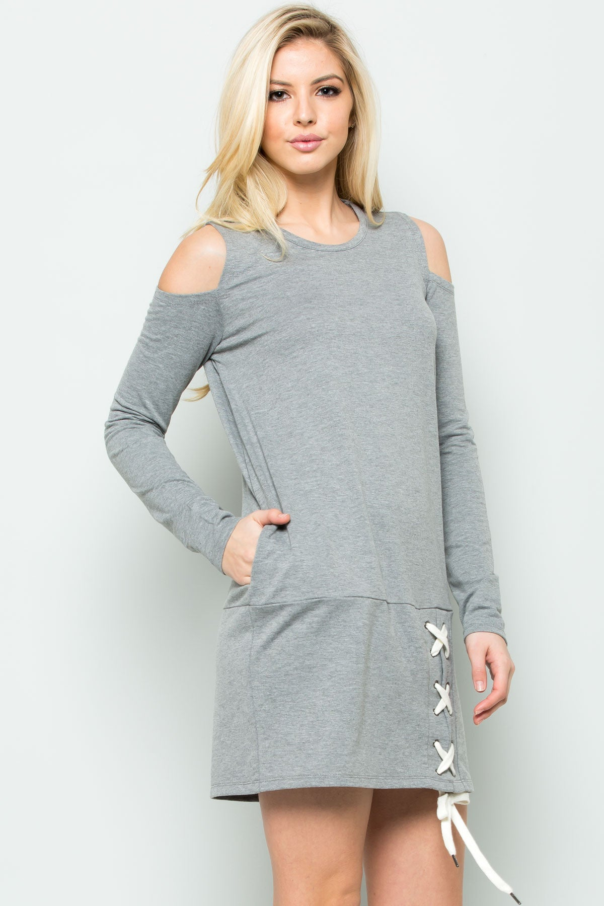 Cold Shoulder Lace Up Sweater Dress in Heather Grey - Dresses - My Yuccie - 5