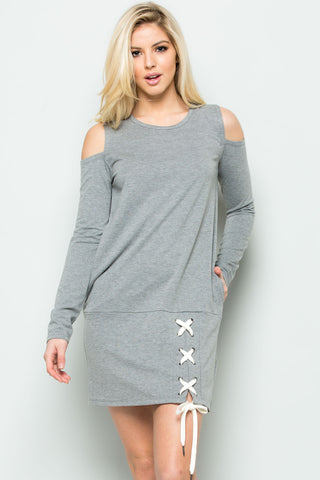 Cold Shoulder Lace Up Sweater Dress in Heather Grey - Dresses - My Yuccie - 1