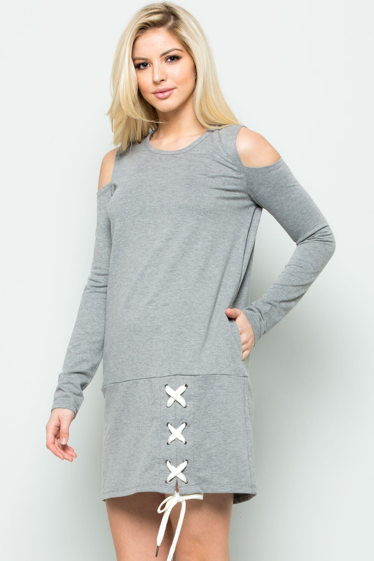 Cold Shoulder Lace Up Sweater Dress in Heather Grey - Dresses - My Yuccie - 2