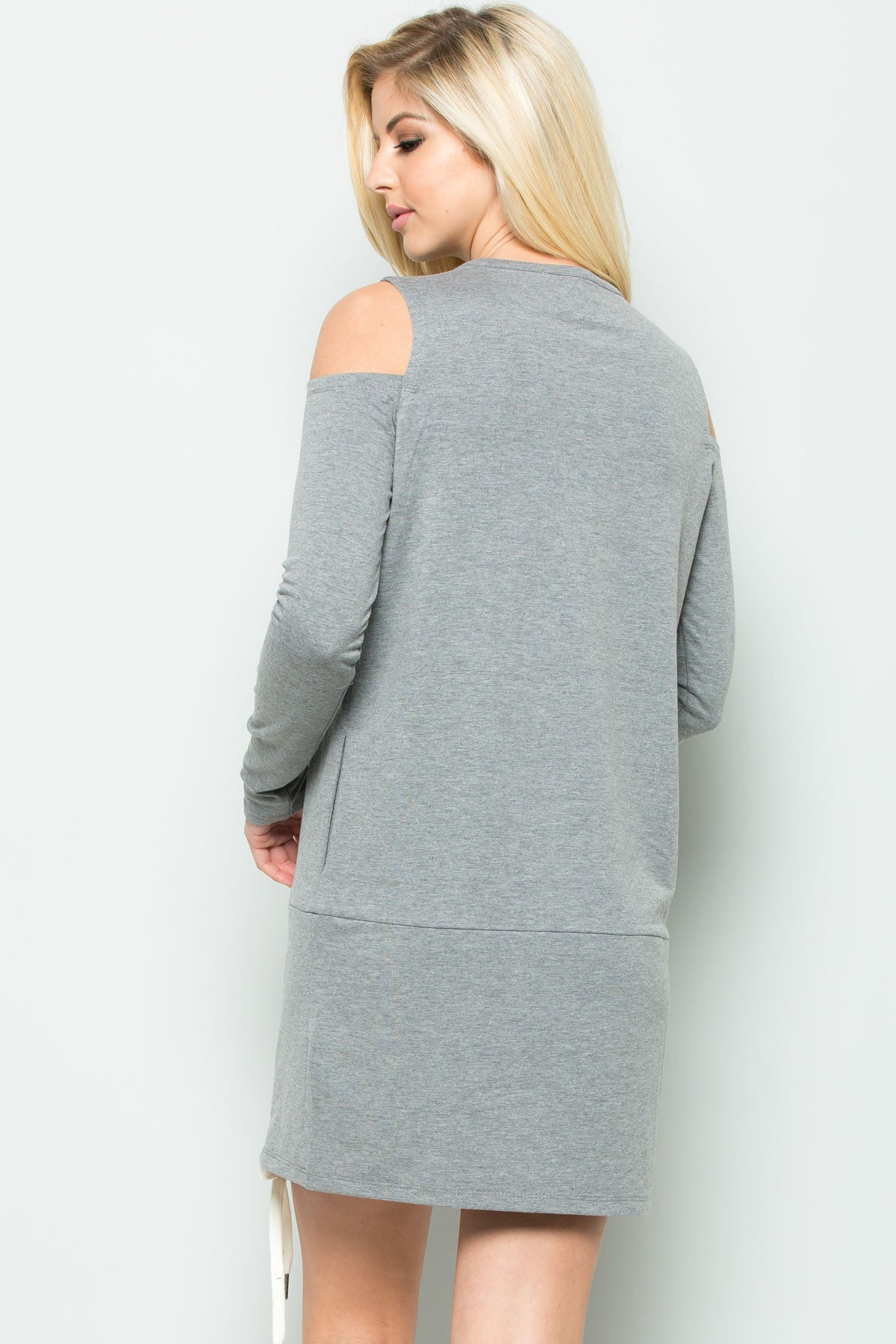 Cold Shoulder Lace Up Sweater Dress in Heather Grey - Dresses - My Yuccie - 3