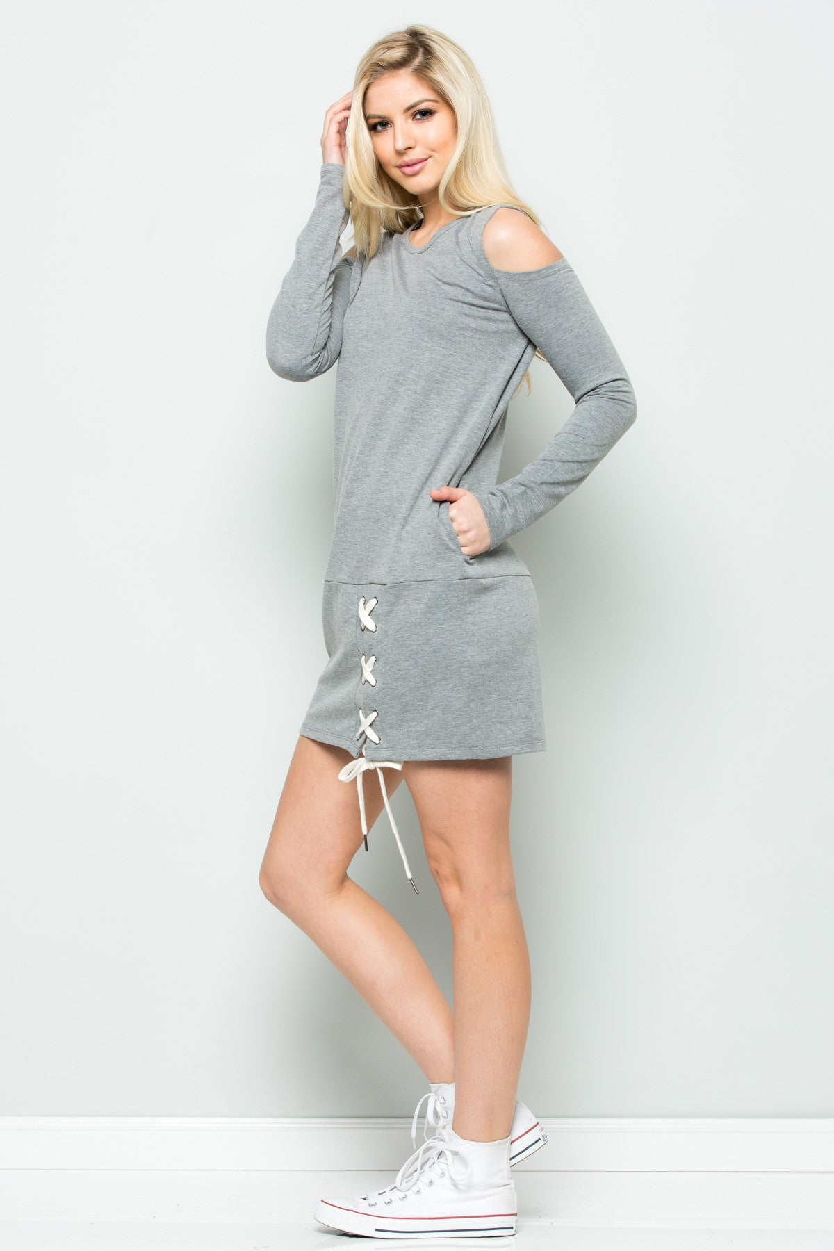 Cold Shoulder Lace Up Sweater Dress in Heather Grey - Dresses - My Yuccie - 6