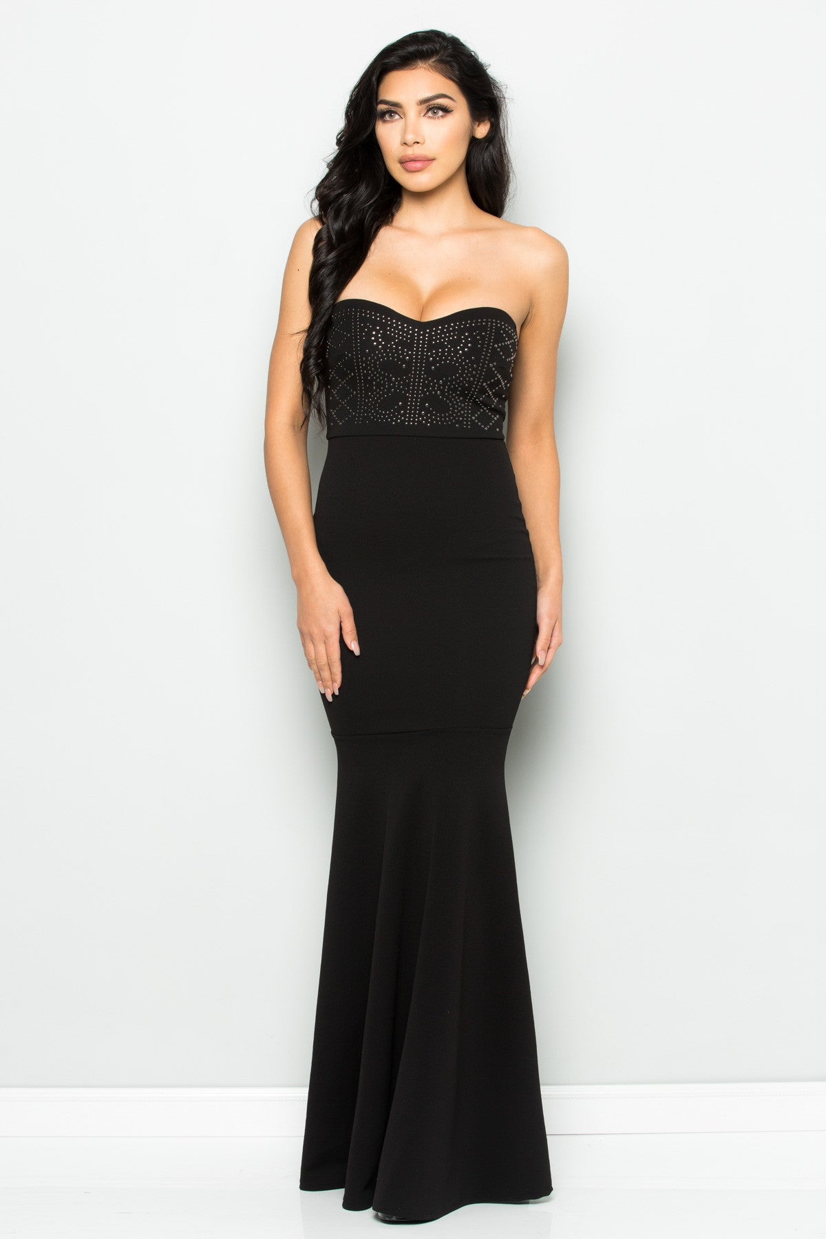 Beaded Sweetheart Mermaid Tail Gown in Black - Dresses - My Yuccie - 5