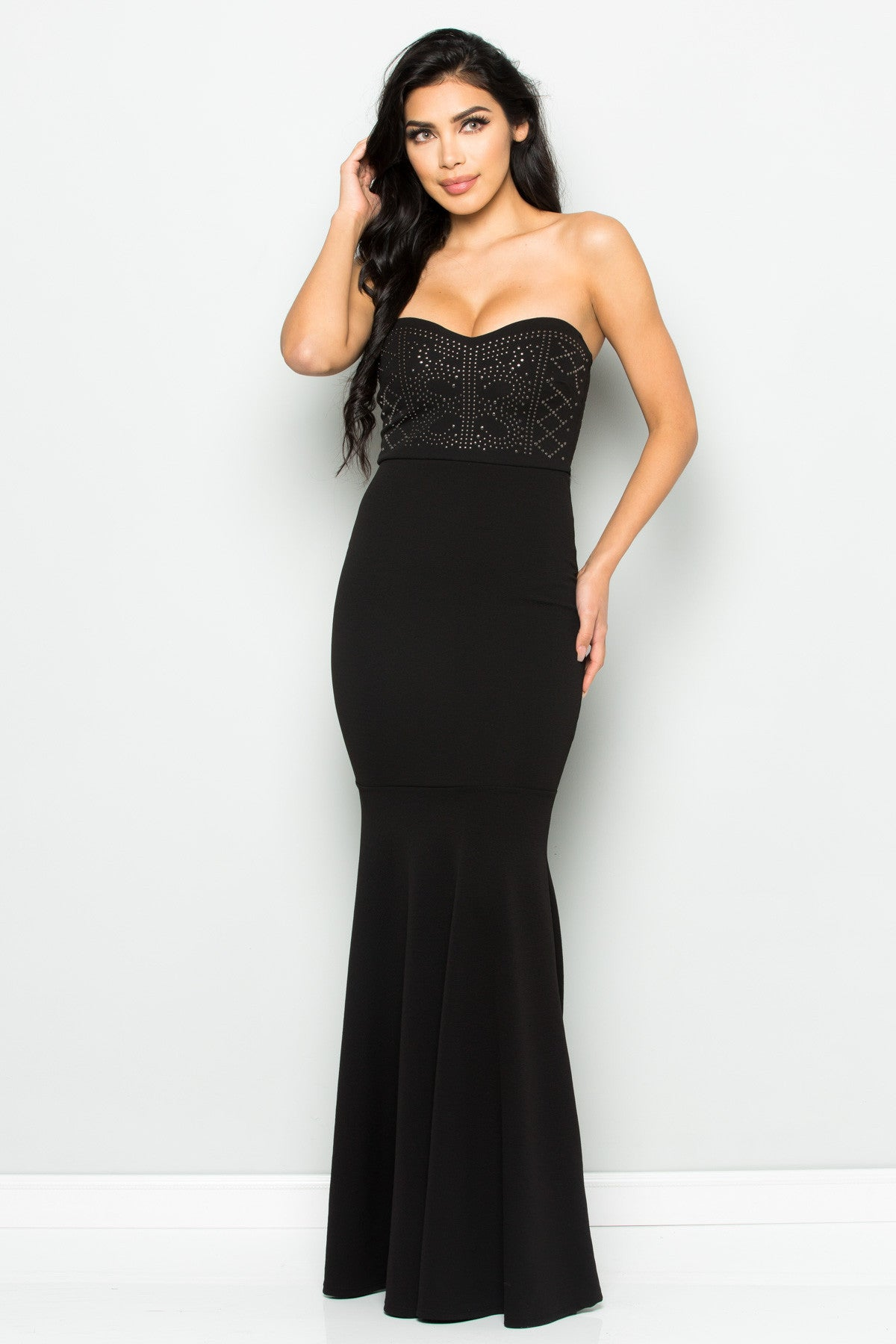 Beaded Sweetheart Mermaid Tail Gown in Black - Dresses - My Yuccie - 7