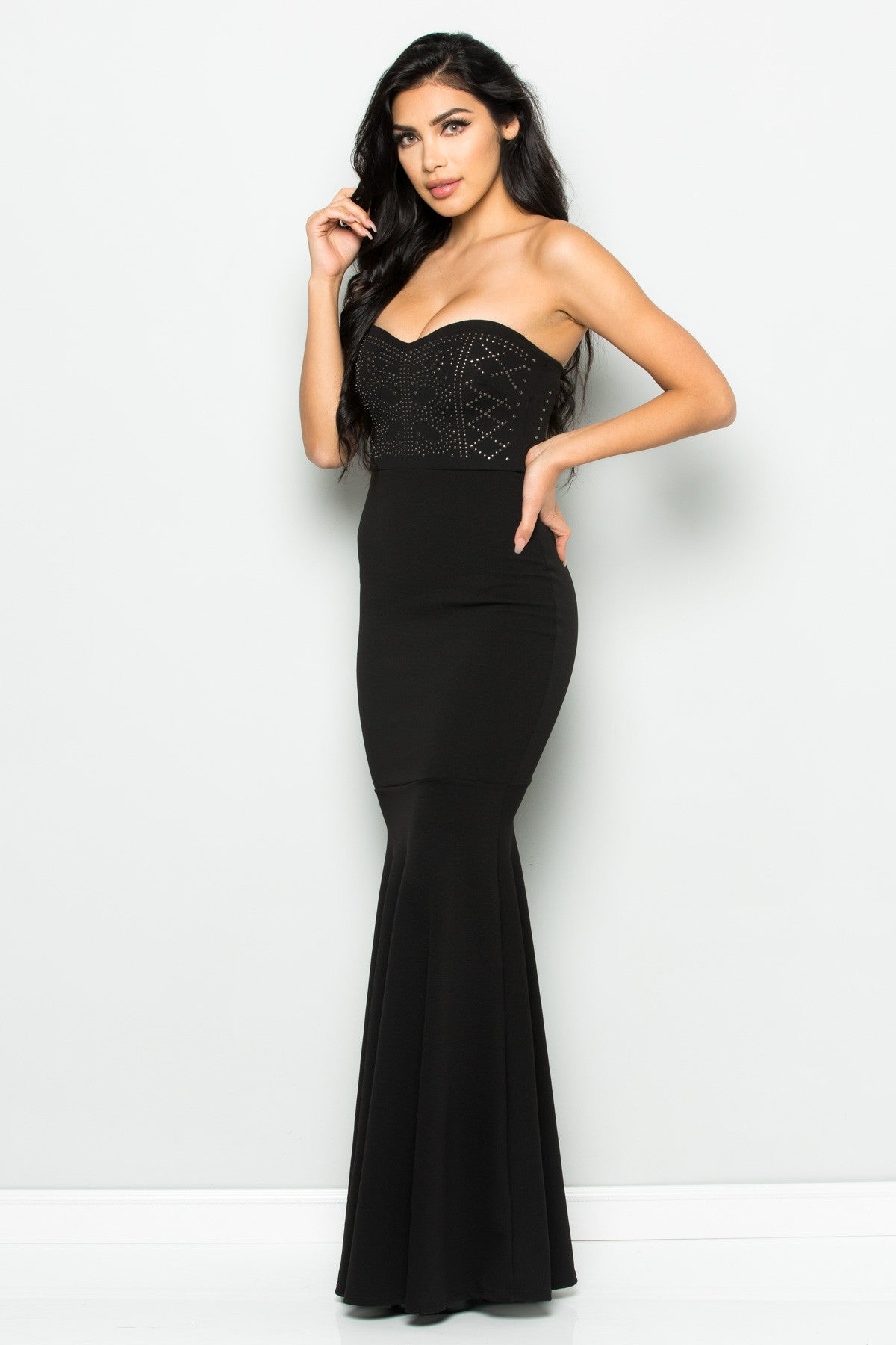 Beaded Sweetheart Mermaid Tail Gown in Black - Dresses - My Yuccie - 1