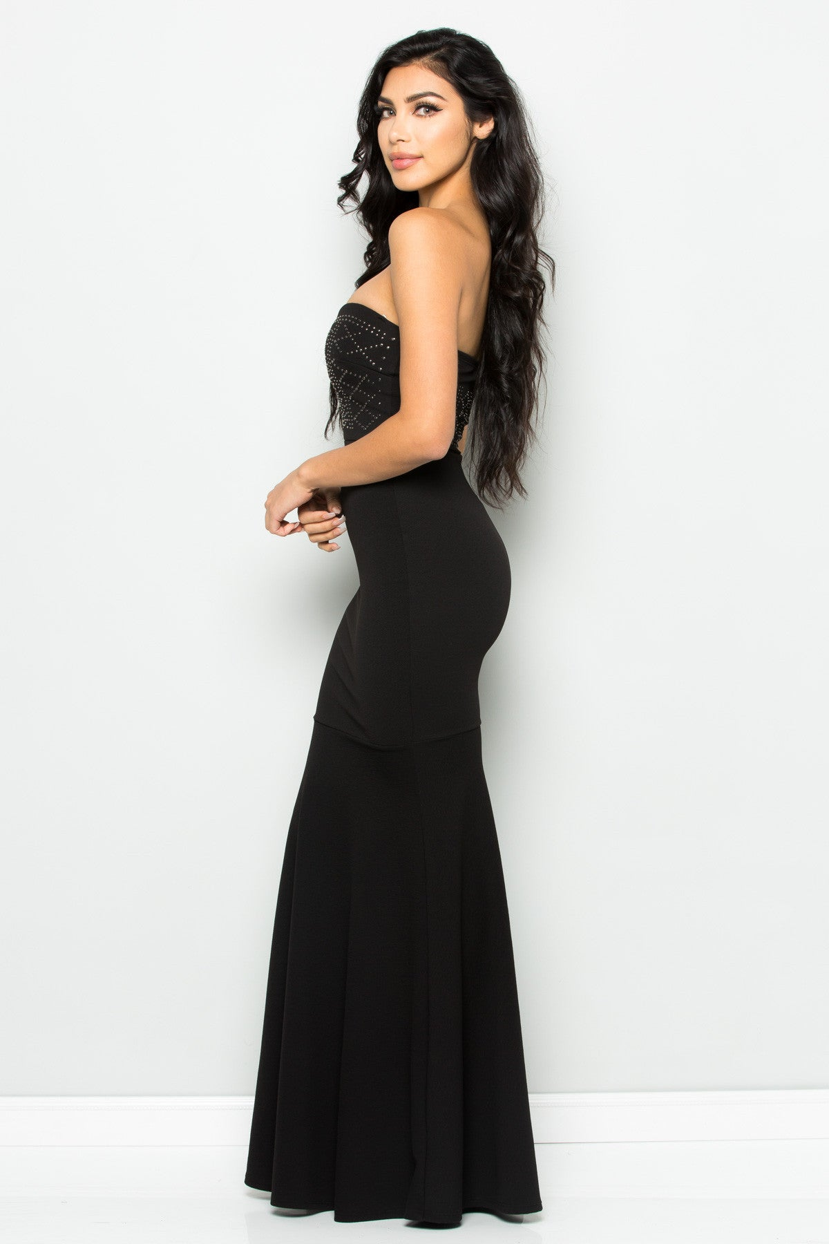 Beaded Sweetheart Mermaid Tail Gown in Black - Dresses - My Yuccie - 3