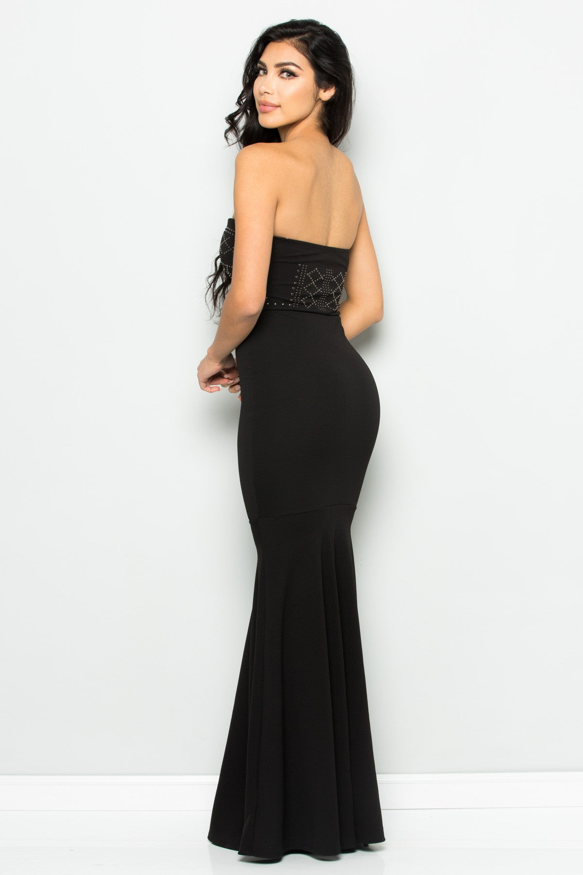Beaded Sweetheart Mermaid Tail Gown in Black - Dresses - My Yuccie - 6