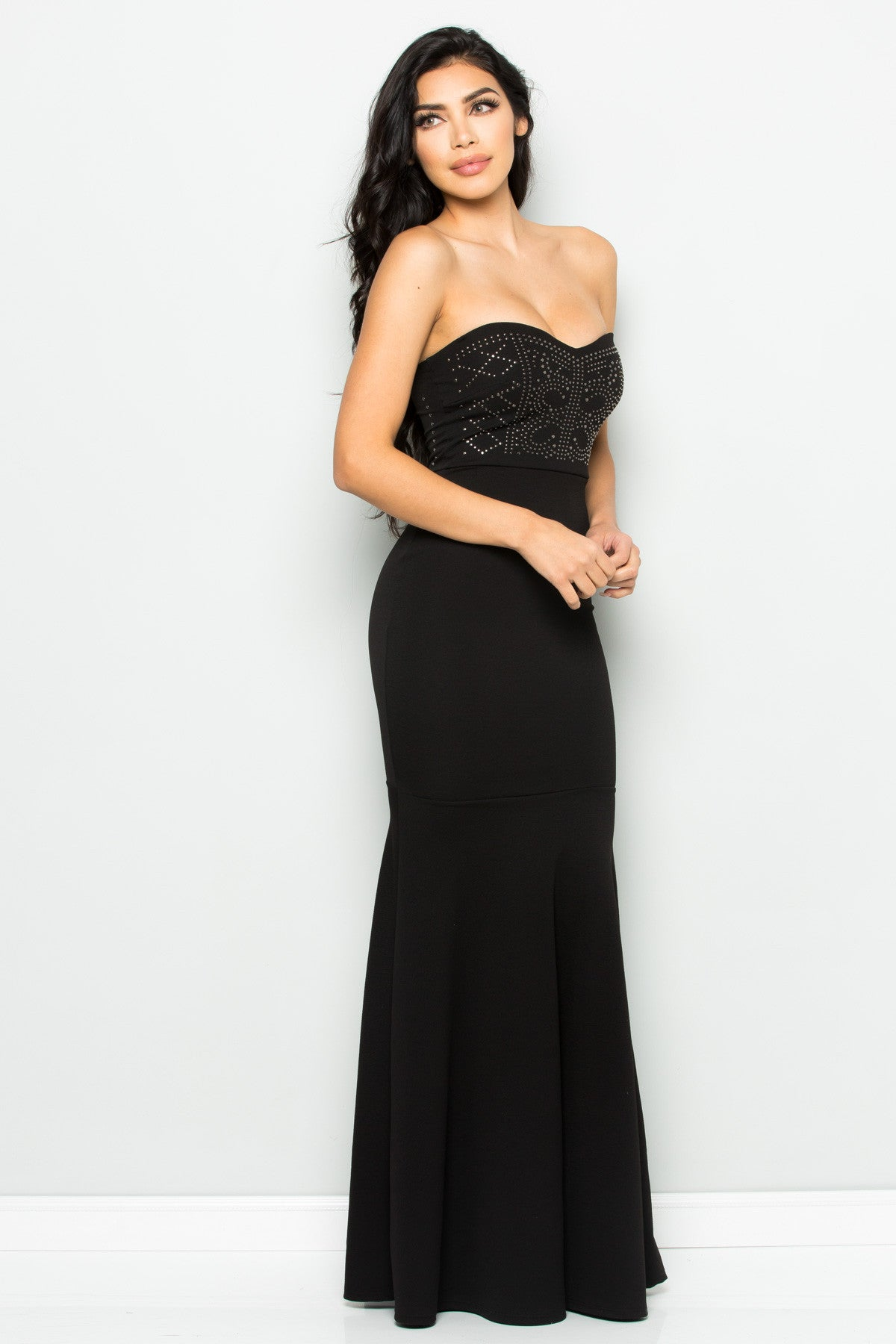 Beaded Sweetheart Mermaid Tail Gown in Black - Dresses - My Yuccie - 2