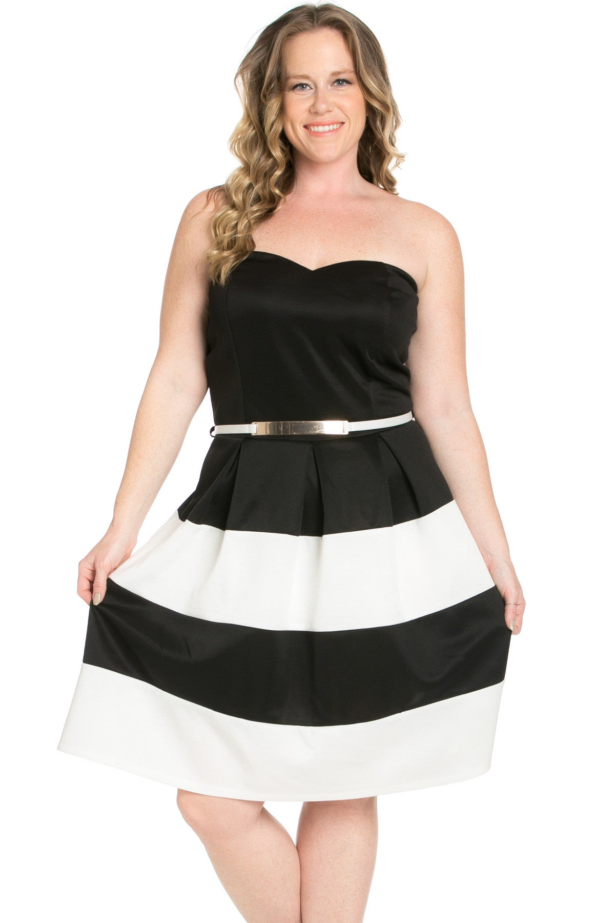 Sweetheart Color Block in Black Tube Dress with Belt - Dresses - My Yuccie - 3