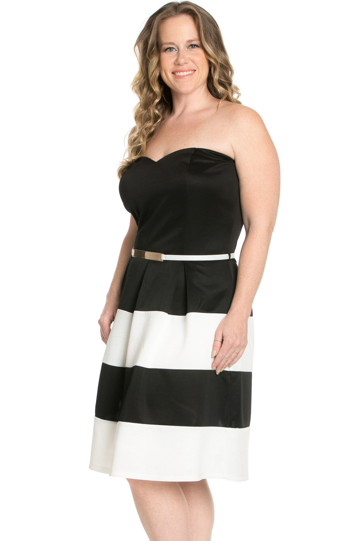 Sweetheart Color Block in Black Tube Dress with Belt - Dresses - My Yuccie - 4