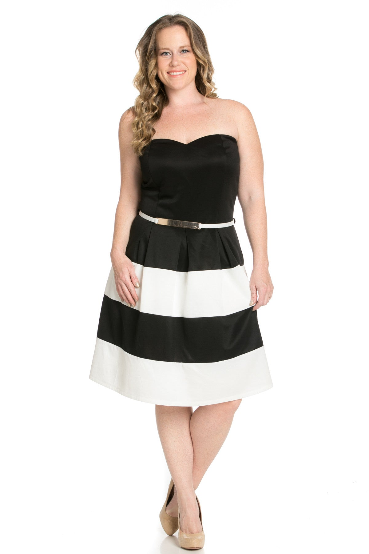 Sweetheart Color Block in Black Tube Dress with Belt - Dresses - My Yuccie - 6