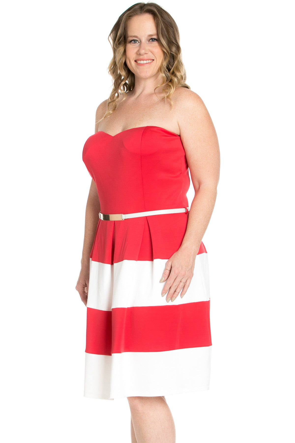 Sweetheart Color Block in Coral Tube Dress with Belt - Dresses - My Yuccie - 2