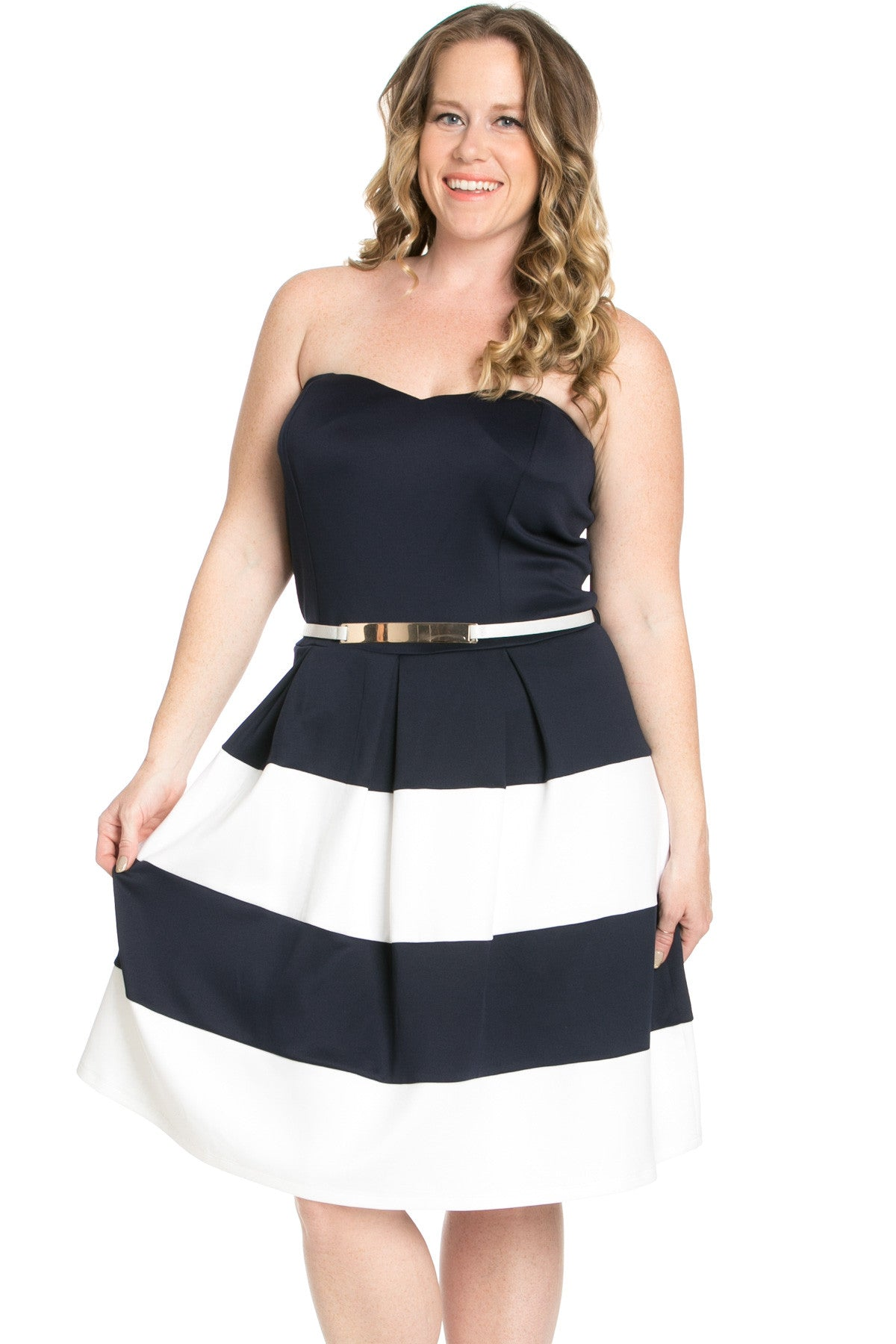 Sweetheart Color Block in Navy Tube Dress with Belt - Dresses - My Yuccie - 1