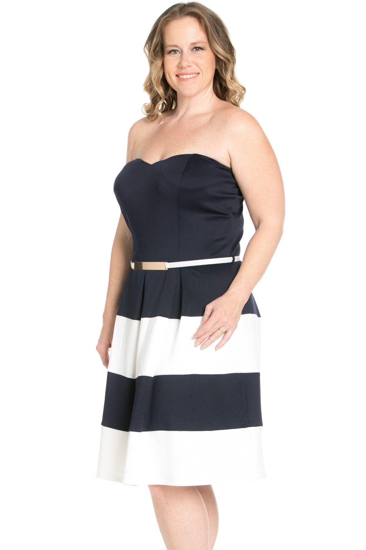 Sweetheart Color Block in Navy Tube Dress with Belt - Dresses - My Yuccie - 2