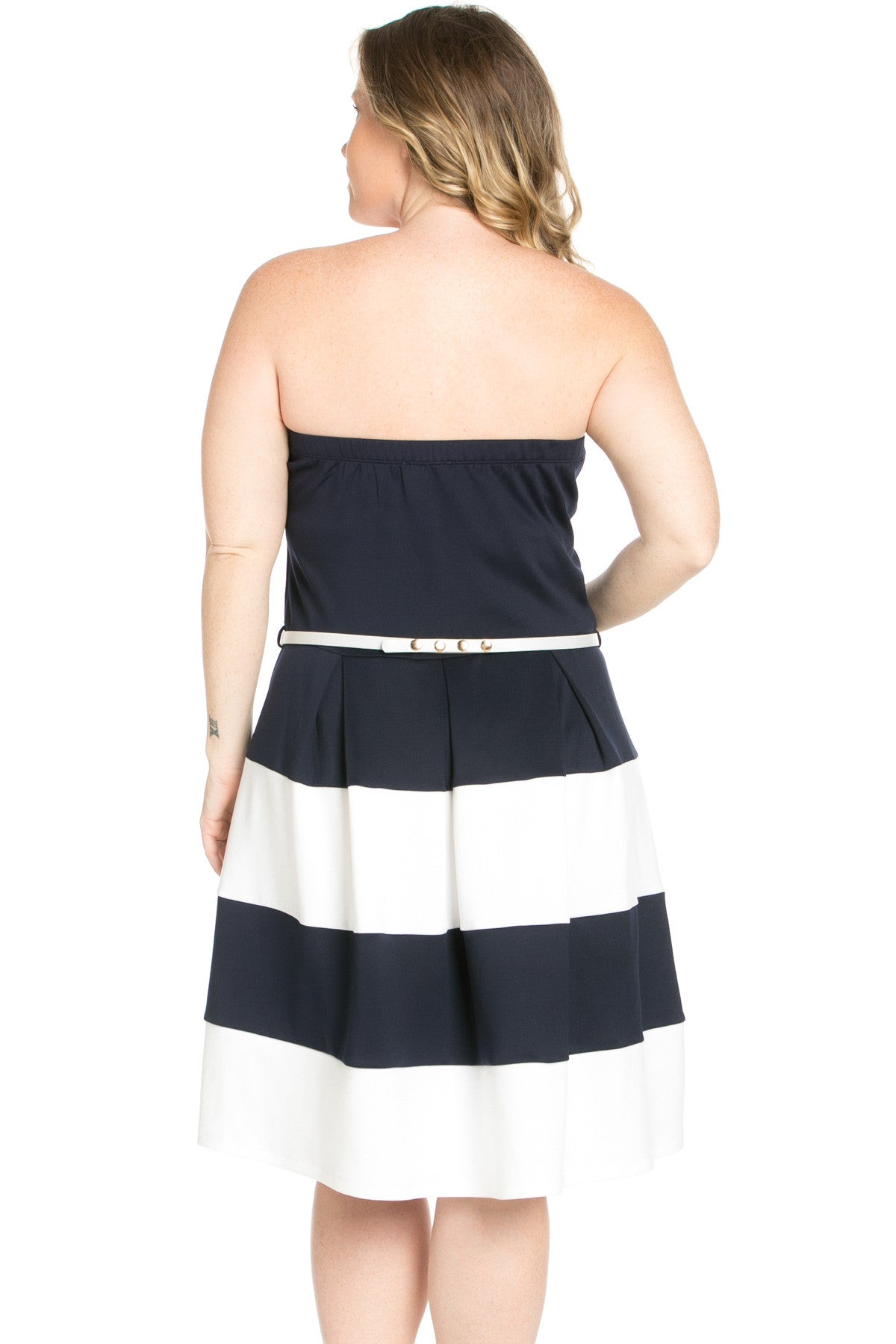 Sweetheart Color Block in Navy Tube Dress with Belt - Dresses - My Yuccie - 4