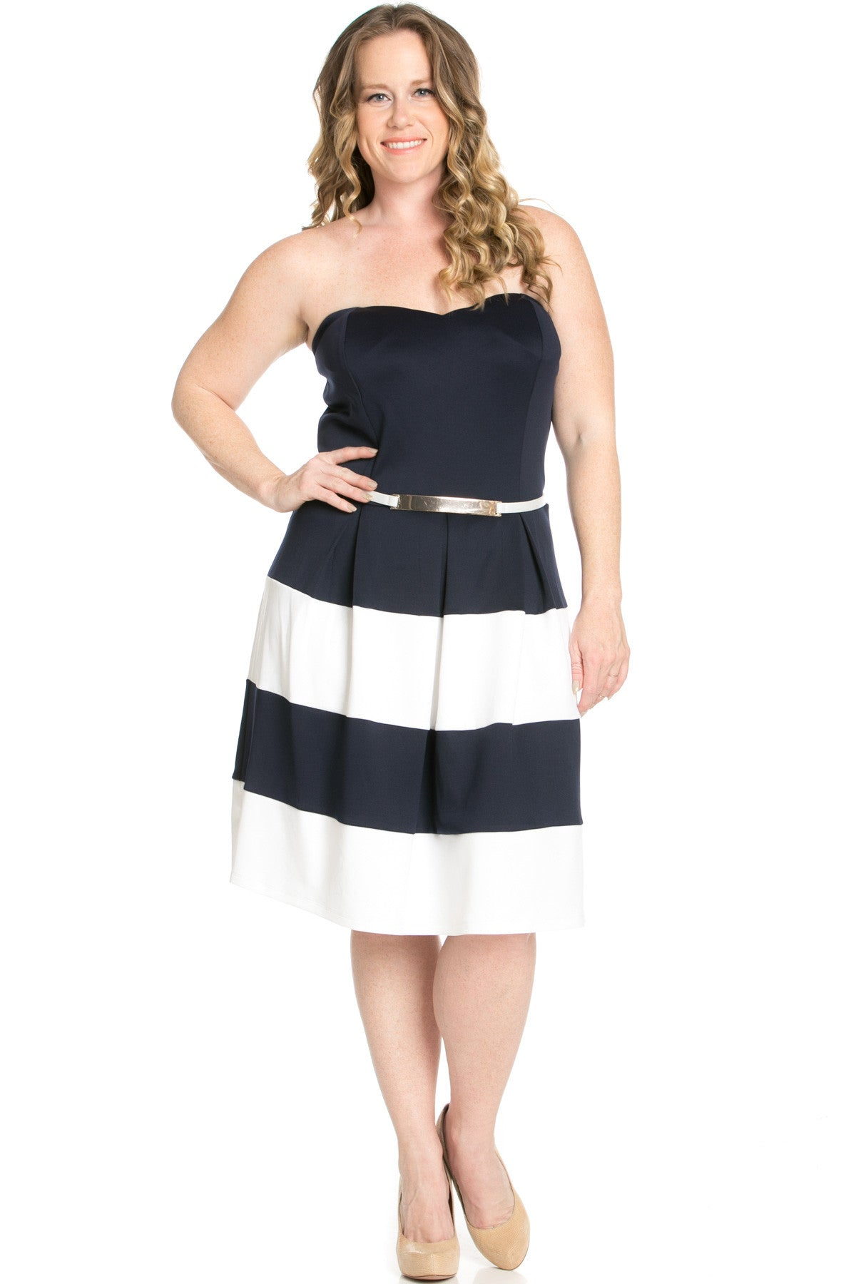 Sweetheart Color Block in Navy Tube Dress with Belt - Dresses - My Yuccie - 3