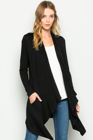 Black Lightweight Long Sleeve Cardigan - Jacket - My Yuccie - 1