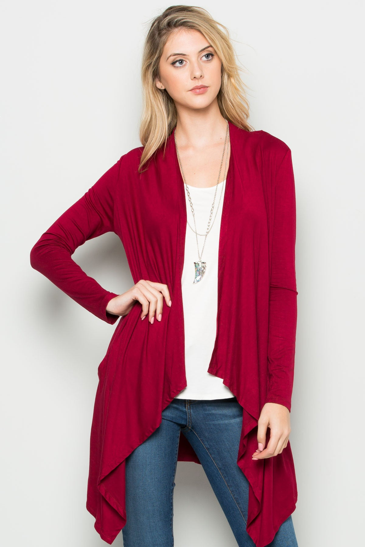 Burgundy Lightweight Long Sleeve Cardigan - Jacket - My Yuccie - 5