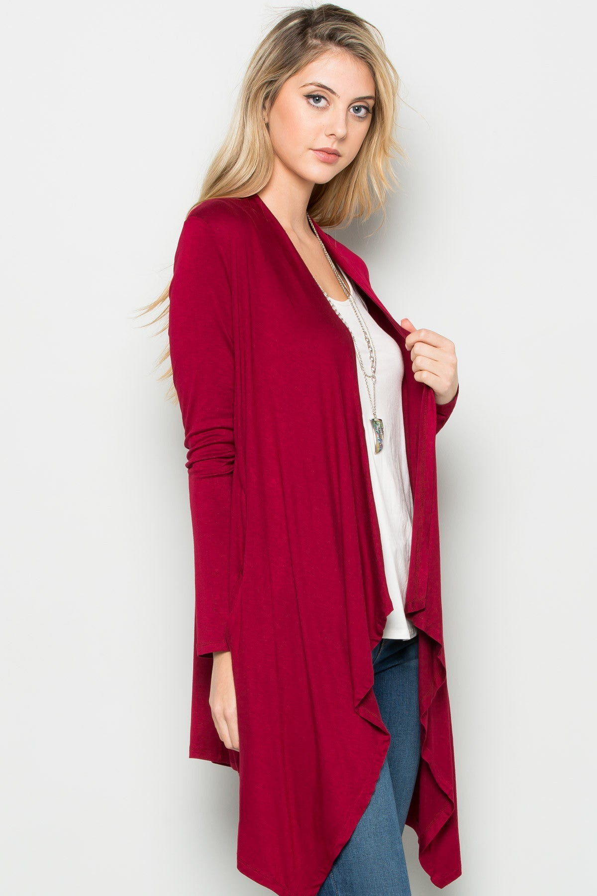 Burgundy Lightweight Long Sleeve Cardigan - Jacket - My Yuccie - 2