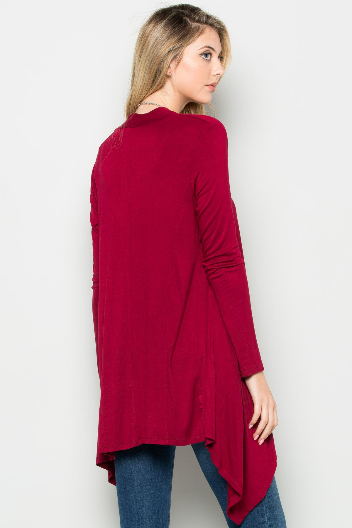 Burgundy Lightweight Long Sleeve Cardigan - Jacket - My Yuccie - 3