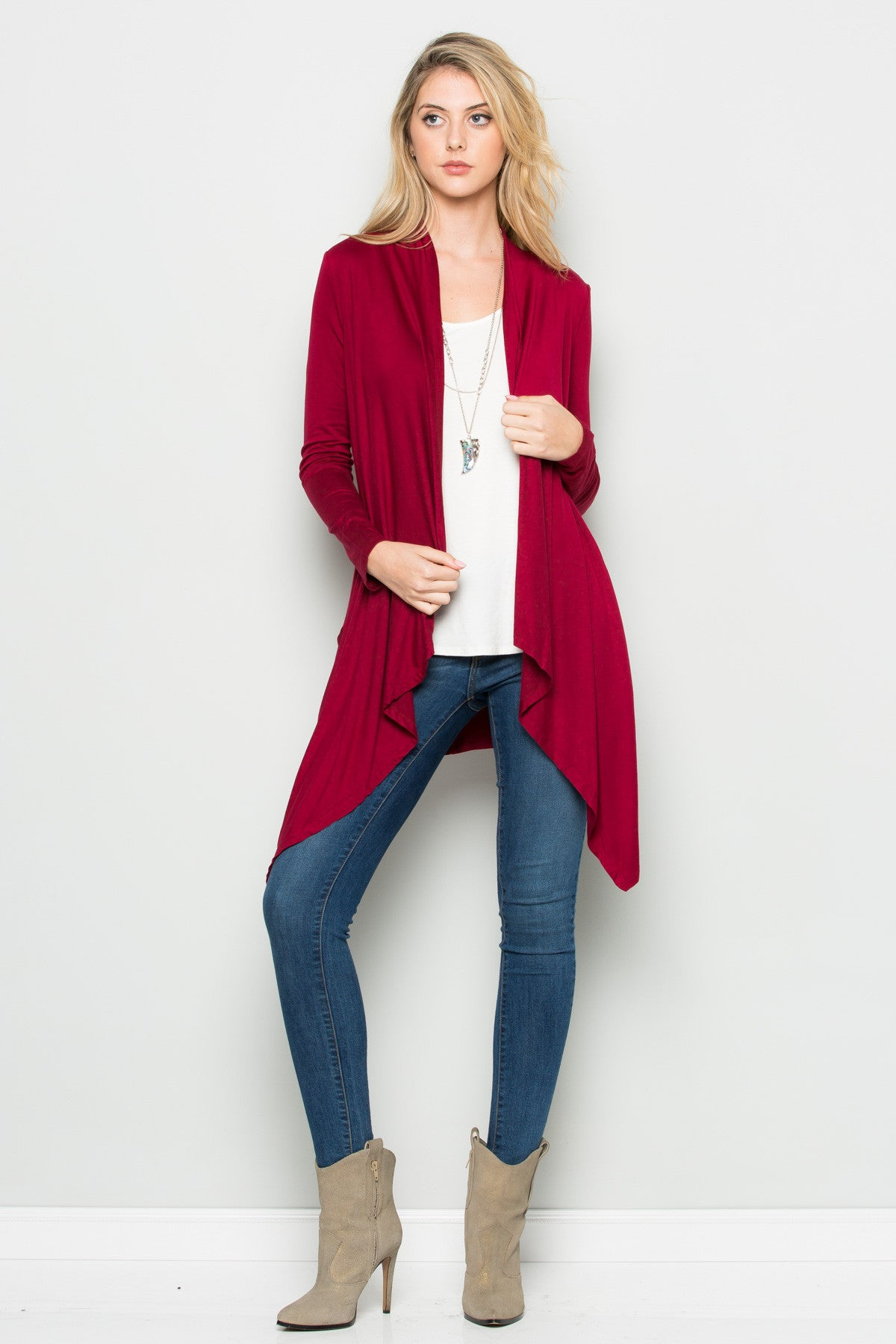 Burgundy Lightweight Long Sleeve Cardigan - Jacket - My Yuccie - 4