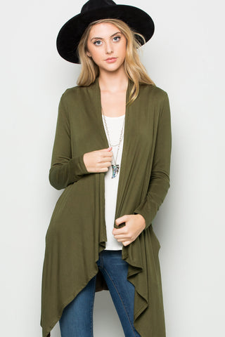 Military Green Lightweight Long Sleeve Cardigan - Jacket - My Yuccie - 1