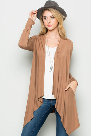 Mocha Lightweight Long Sleeve Cardigan - Jacket - My Yuccie - 1
