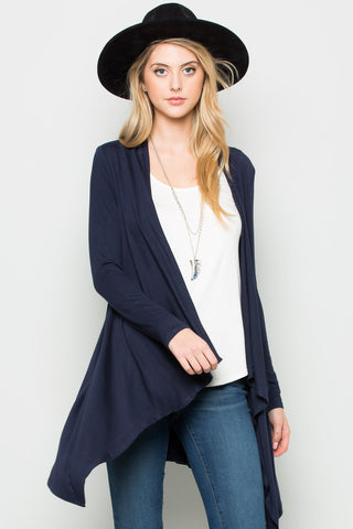 Navy Lightweight Long Sleeve Cardigan - Jacket - My Yuccie - 1