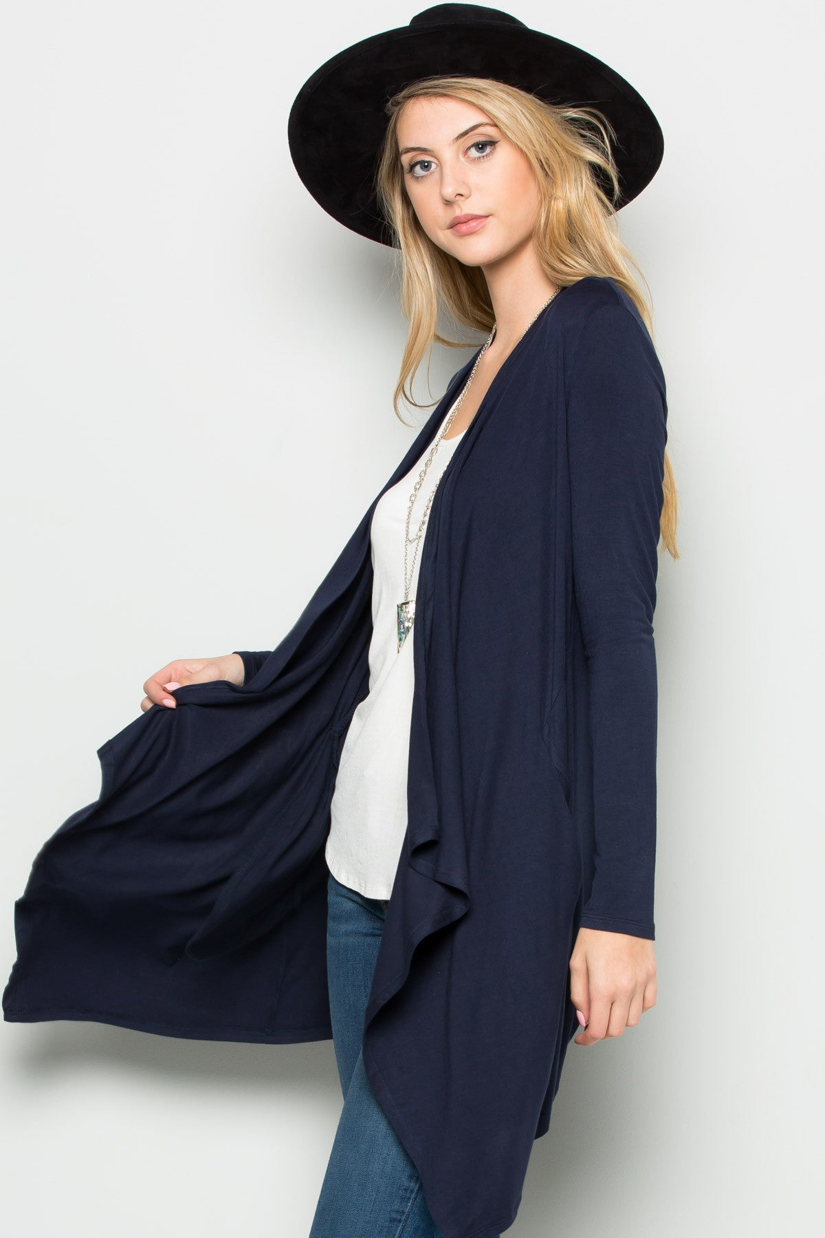 Navy Lightweight Long Sleeve Cardigan - Jacket - My Yuccie - 2