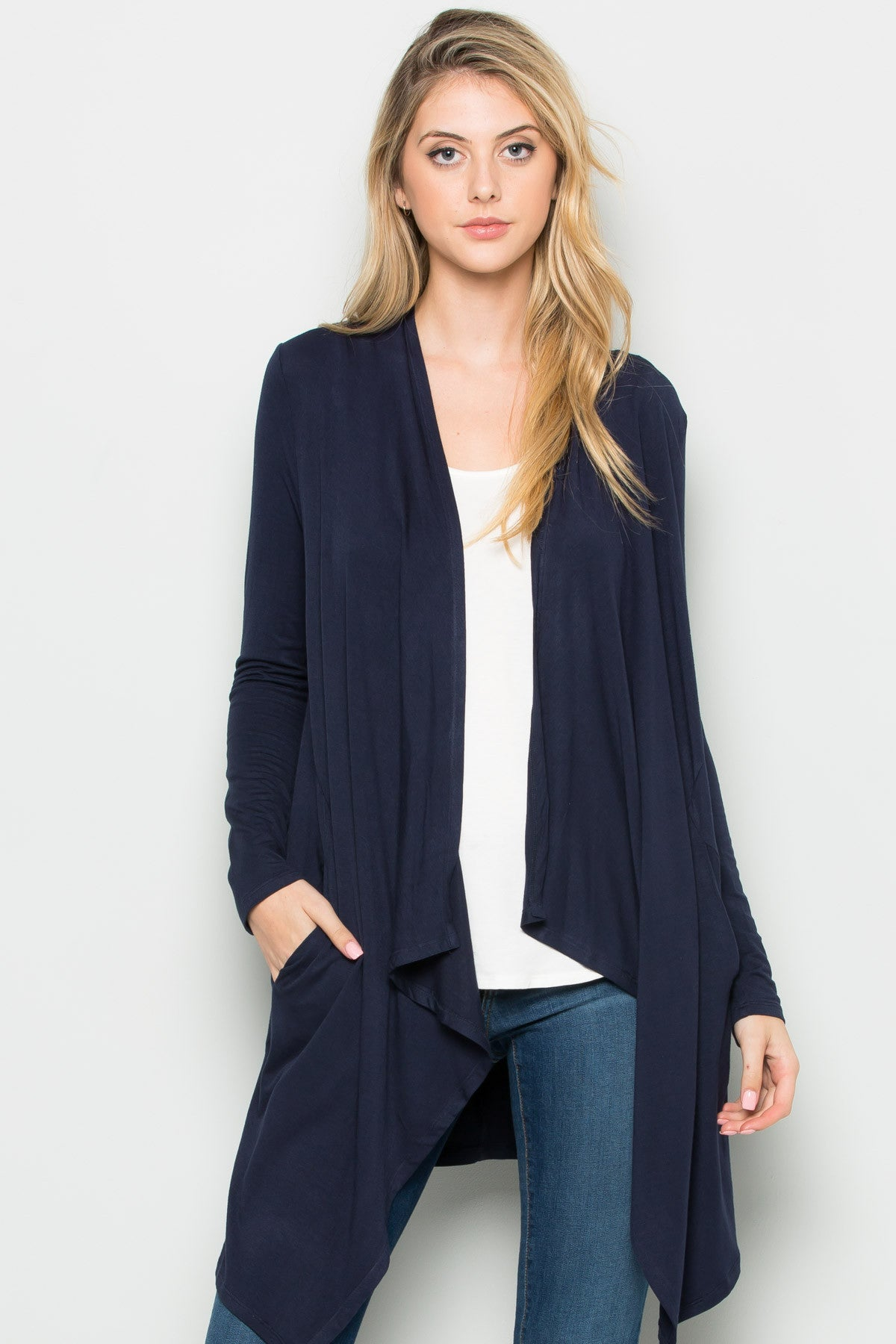 Navy Lightweight Long Sleeve Cardigan - Jacket - My Yuccie - 6