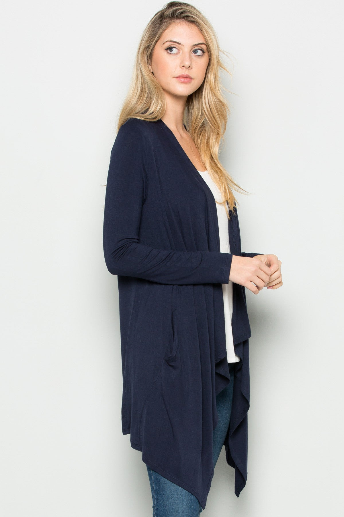 Navy Lightweight Long Sleeve Cardigan - Jacket - My Yuccie - 5
