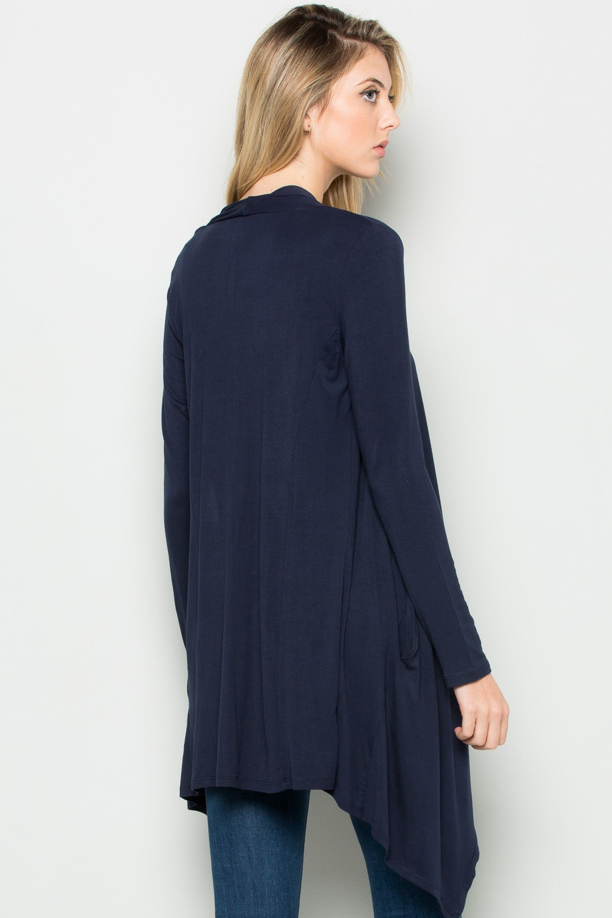 Navy Lightweight Long Sleeve Cardigan - Jacket - My Yuccie - 3