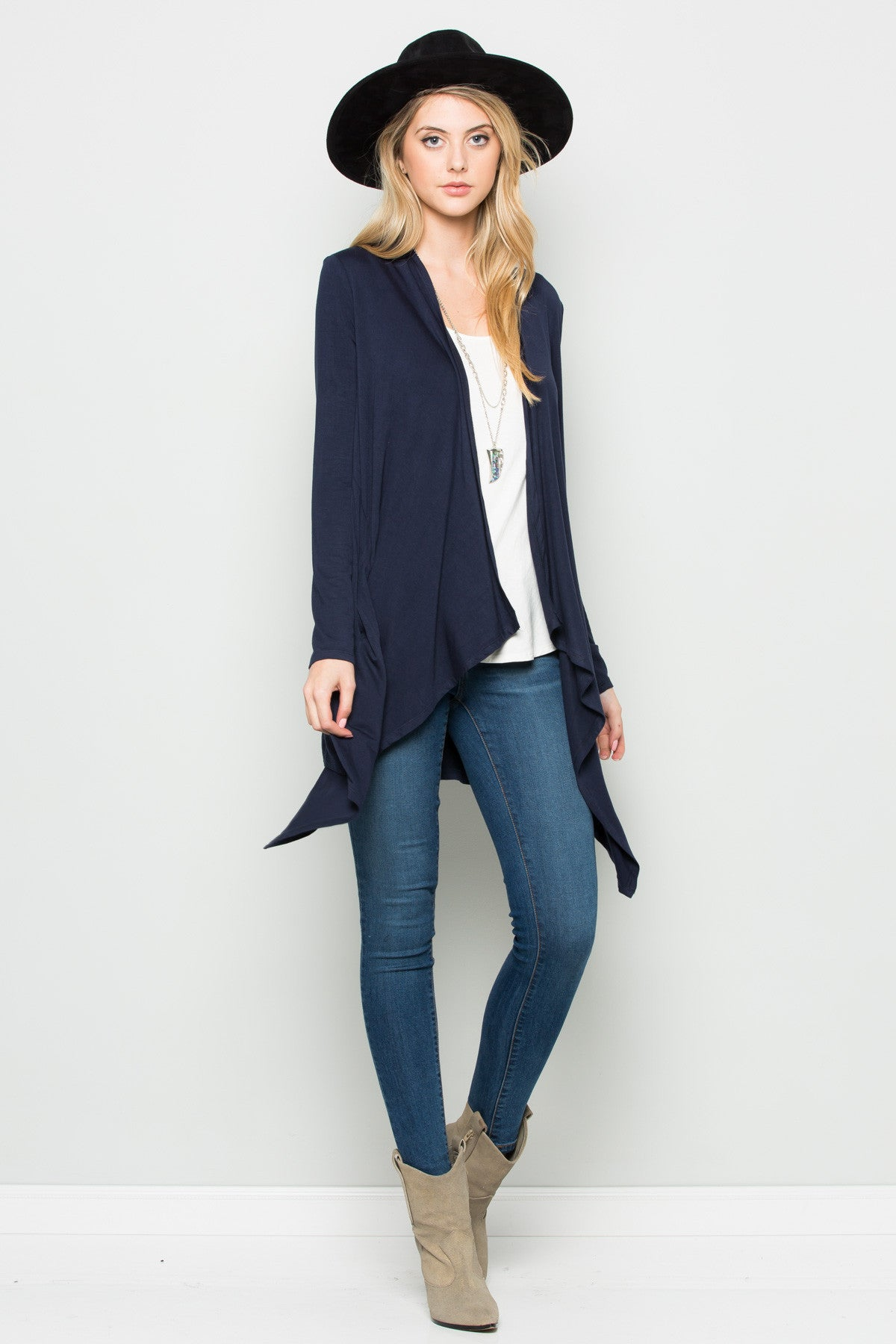 Navy Lightweight Long Sleeve Cardigan - Jacket - My Yuccie - 4