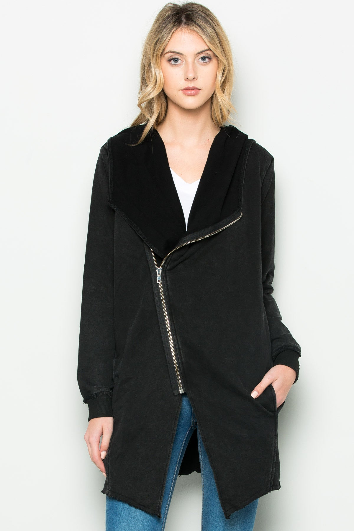 Hooded Asymmetric Zip Up Acid Wash Jacket in Black - Jacket - My Yuccie - 7