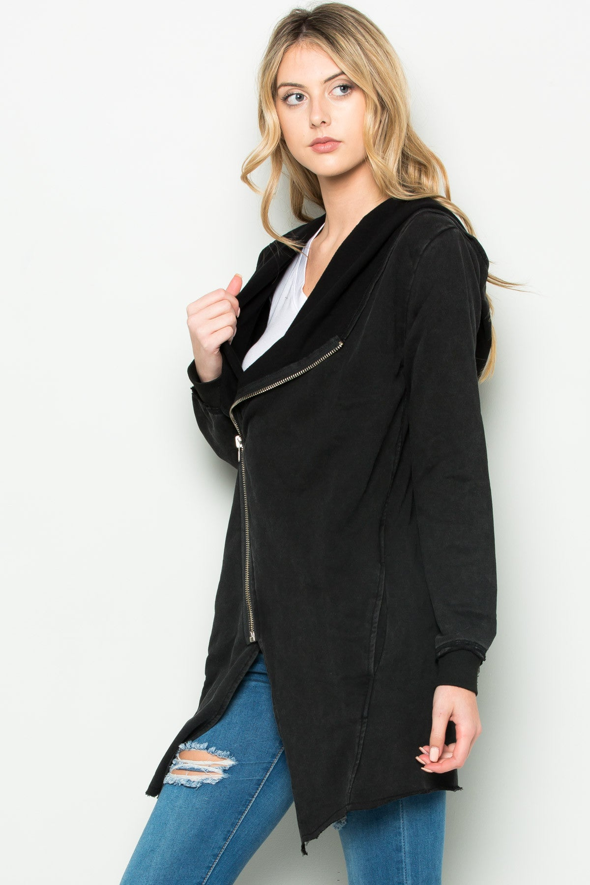 Hooded Asymmetric Zip Up Acid Wash Jacket in Black - Jacket - My Yuccie - 4