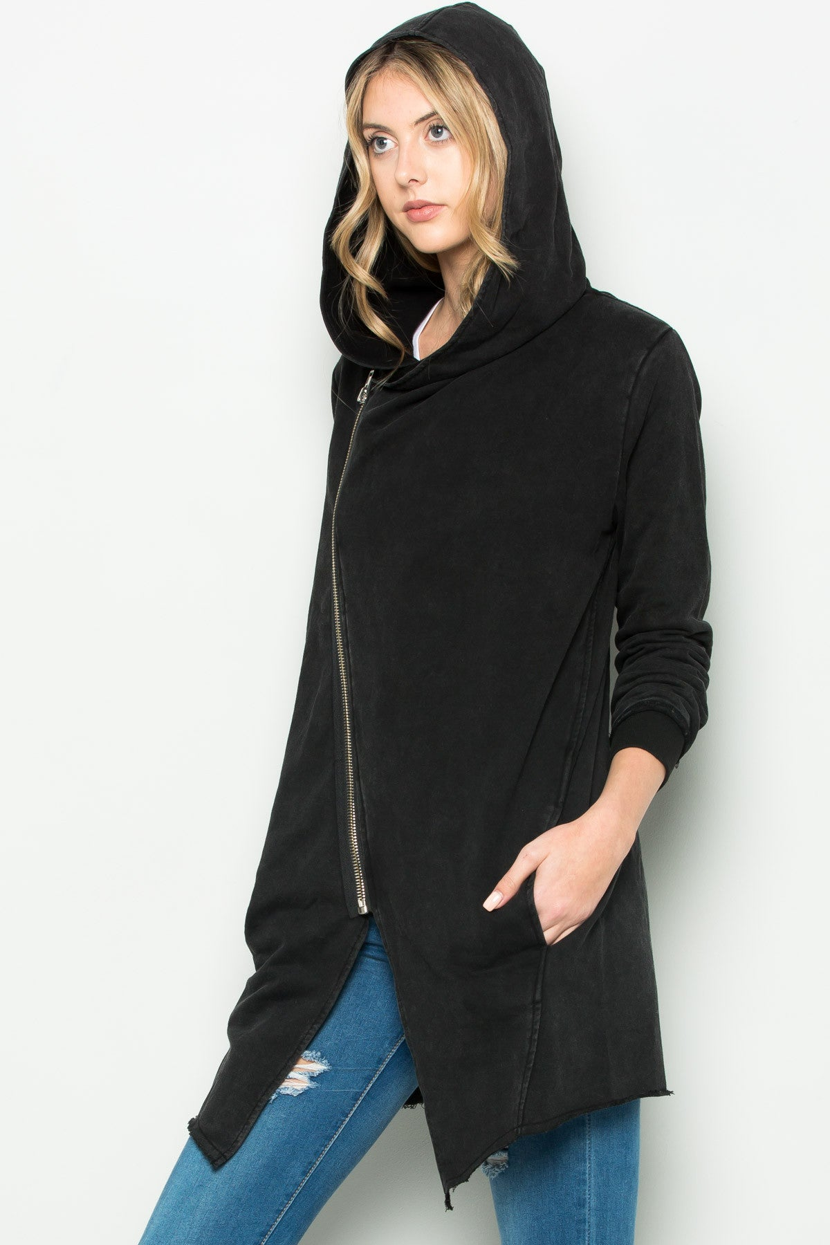 Hooded Asymmetric Zip Up Acid Wash Jacket in Black - Jacket - My Yuccie - 9