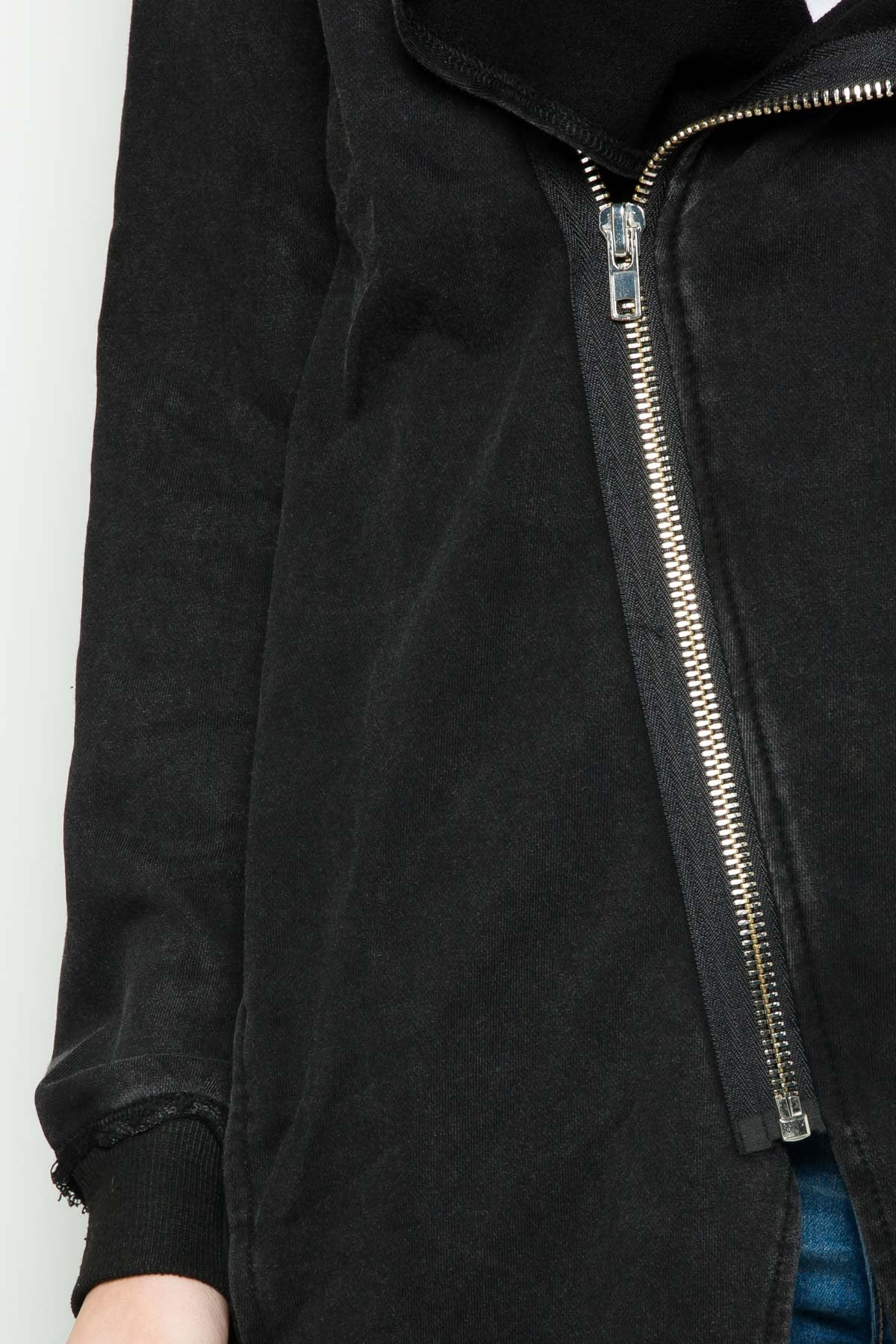 Hooded Asymmetric Zip Up Acid Wash Jacket in Black - Jacket - My Yuccie - 6