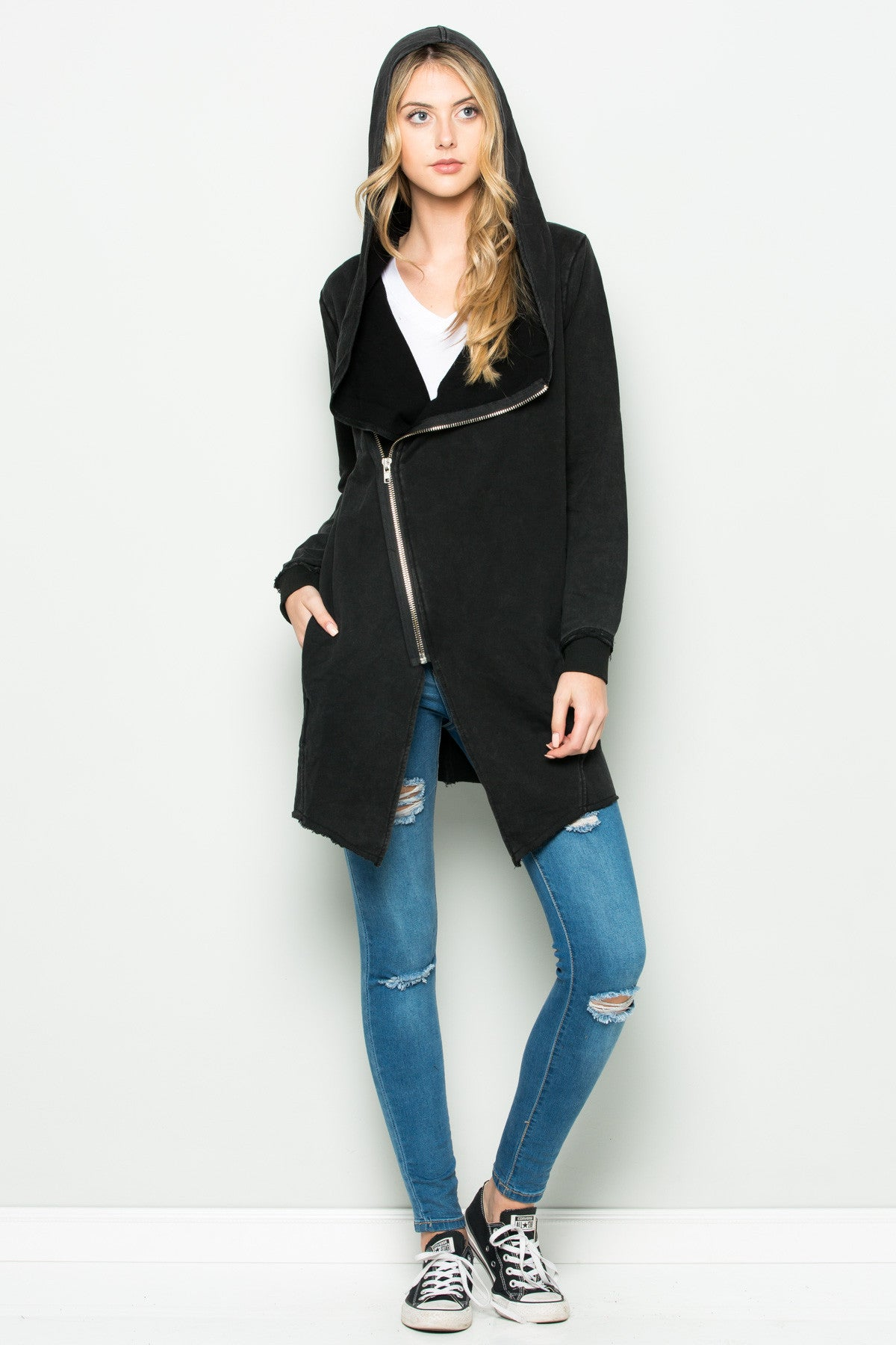 Hooded Asymmetric Zip Up Acid Wash Jacket in Black - Jacket - My Yuccie - 5