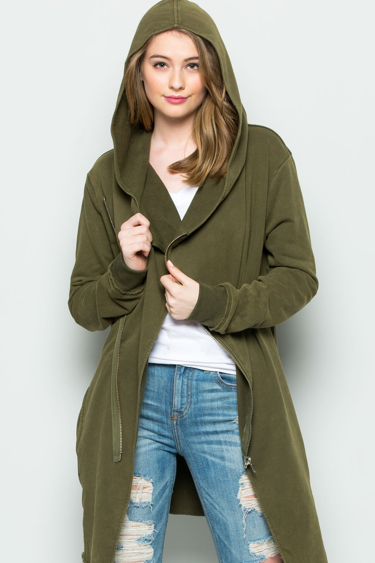 Hooded Asymmetric Zip Up Acid Wash Jacket in Military Green - Jacket - My Yuccie - 2
